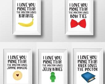Doctor Who Art Print Bundle — Bundle and Save — Doctor Who Nursery Art — Doctor Who Wall Art — Doctor Who Word Art — I Love You More Than