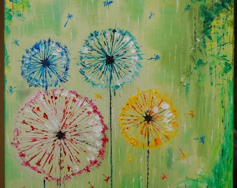Dandelions original oil painting on canvas palette knife ready to hang