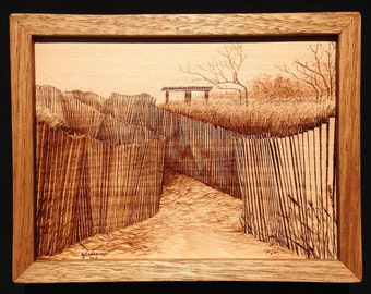 Dune Fence on the Beach -  pyrography