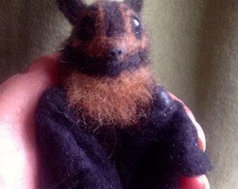 Made to order - Needle felted Poseable Baby Flying Fox Fruitbat ,  handmade animal wool woodland wildlife