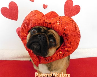 Dog Valentines Day hat for dogs and cats - Heart Hat for dogs-Cat Valentine Hat-Dog Valentine