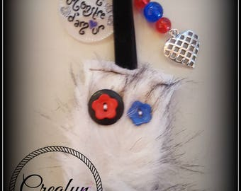 Keychain little monster with love in fur