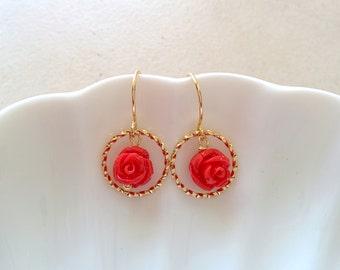 Circle dangle earrings, flower earrings, cute dangle earrings, cute earrings, cute circle earrings, gold dangle, gold dangle earrings