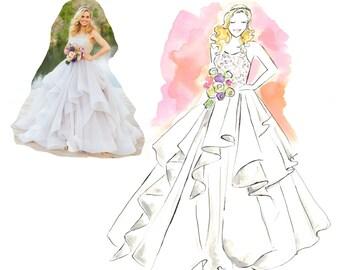 "Custom Bride Fashion Illustration ""Super Simple Package"", Bridal Illustration, Bride Custom Portrait, Wedding Gift, Anniversary Gift"