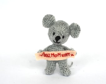 gift for mom, BEST MOM EVER sign, tiny mouse gift for Mother's day, little mice animal doll, cute doll gift for her, small gift for Mother