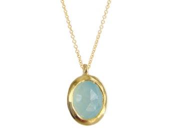 Gold Chalcedony Necklace, 14k Aqua Chalcedony Necklace, Gold Chalcedony Pendant, Gift for Her, Chalcedony Jewelry