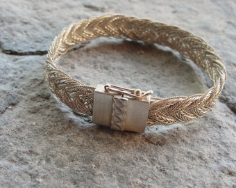 Hand Braided Sterling Silver Bracelet Woven Sterling Silver jewelry