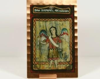 Raphael Archangel Retablo Icon Mini Print on Copper