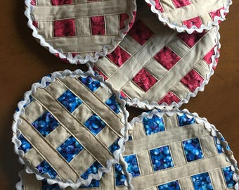 Set of 2-potholders and 1-hot plate mat
