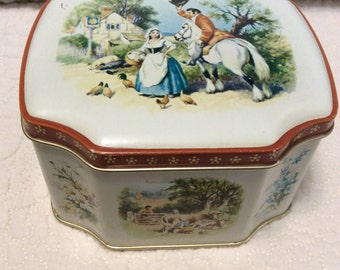 Vintage 1950's England Romantic Tin Container by George Horner Candy with Hinge Lid White