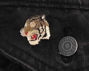 vintage tiger enamel pin