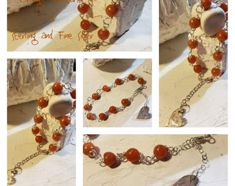 Orange Aventurine Sterling Silver and fine Silver Bracelet