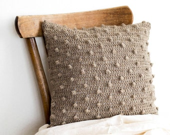 Natural Beige Wool Pillow Cover, 16 x 16 Crochet Cushion Cover, Cottage Chic