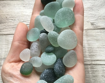 Genuine Sea Glass Green/White