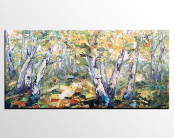 Original Art, Oil Painting, Forest Tree Oil Painting, Canvas Art, Canvas Painting, Abstract Canvas Art, Large Wall Art, Palette Knife Art