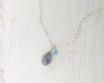 Labradorite Blue Fire and Blue Topaz Necklace, Sterling Silver, Delicate Necklace, Dainty Necklace, Minimalist