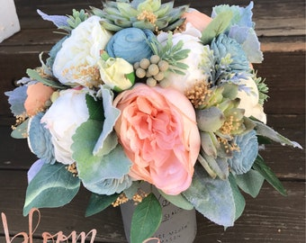 Bridal Bouquet- Sola Flowers, Faux Succulents, Silk Flowers, Peonies, Cottage Roses, Lambs Ear Dusty Miller Eucalyptus Silver Brunia Wedding