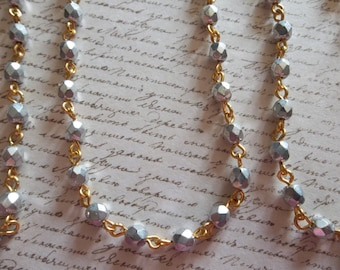 Bead Chain Faceted Opaque Silver 4mm Fire Polished Glass Beads on Gold Beaded Chain - Qty 18 Inch strand