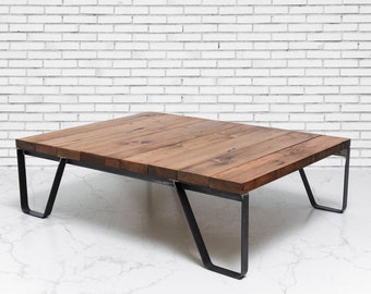 Industrial Coffee Table, Square Coffee Table, Industrial Table, Rustic Decor, Farmhouse Coffee Table, Wood Furniture, Reclaimed Wood Table