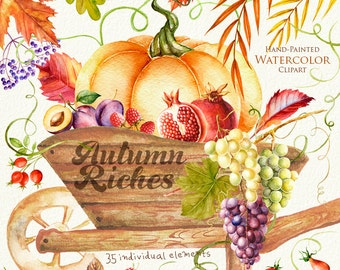 Autumn Harvest Watercolor clipart. Fall, Halloween, Pumpkin, Leaves, vegetables, fruits, berries, invitation, greeting, instant download