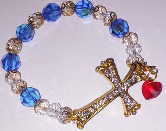 Religious Christian Jewelry Cross Heart Bracelet Religious Jewelry Christian Bling BR11