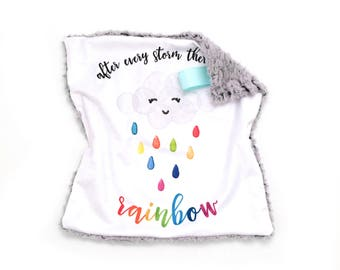 Lovey After Every Storm There is a Rainbow. Lovey. Rainbow Lovey. Rainbow Baby. Mini Baby Blanket. Security Blanket. Lovie. Minky Lovey.