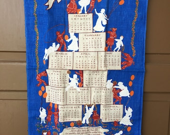 Vintage United Nations  UN Linen Tea Towel 1970s