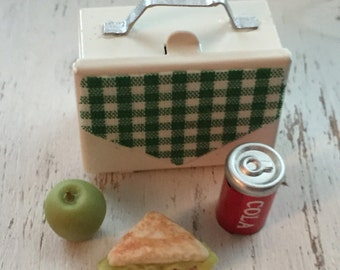 Miniature Lunch Box With Sandwich Pop and Apple Dollhouse Scale 1:12 Miniature 4 Piece Set