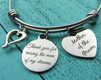 Thank you for raising the man of my dreams, gift for Mother in law to be, Mother of the groom gift from bride, Mom wedding gift jewelry