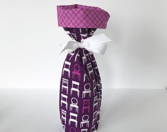 Wine Gift Bag -  Laurie Wisbrun purple Tufted Tweets