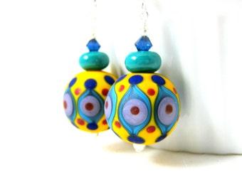 Bright Colorful Earrings, Funky Jewlery, Glass Earrings, Fun Dangle Earrings, Lampwork Earrings, Yellow Blue Teal Purple Earrings - Morocco