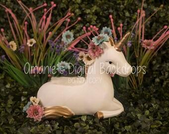 Rainbow Floral Unicorn Garden Digital Backdrop