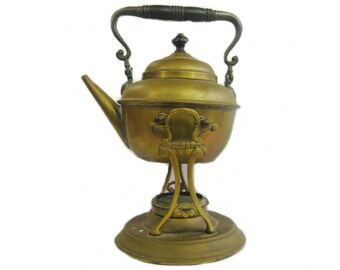 Antique Brass Tilting Tea Kettle on Stand with Burner, Metal Teapot