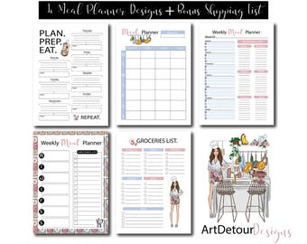 A4 size Meal Planner Printable || Menu Planner || Shopping List/Groceries List || Weekly Meal Planner PDF + PNG files