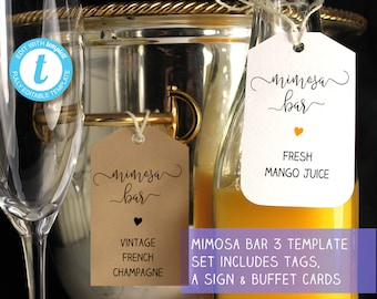 Mimosa bar sign, juice tags and buffet label templates, 3 printable templates included, easy to customize, | Bubbly bar ideas, Templett