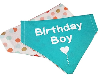 Birthday Boy reversible dog bandana|Gifts for dogs and dog lovers|Confetti polka dots|Coral|Glitter heart balloon