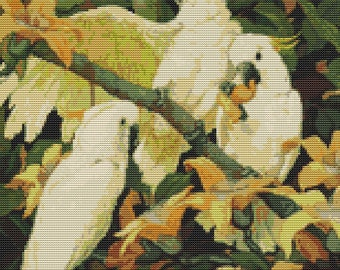 Parrot Cross Stitch Kit, Sulphur Crested Cockatoos, Counted Cross Stitch, Embroidery Kit, Art Cross Stitch, Jessie Arms Botke