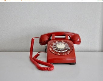 ON SALE Vintage Red Rotary Phone Western Electric Working Telephone