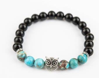 Golden Owl bracelet Gloss marbles with Turquoise stone one of a kind