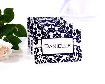 PRINTABLE Bold Damask Black on White Place Cards