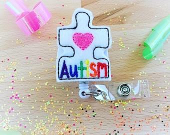 Feltie Badge Reel - Autism Awareness- Badge Holder - Retractable Badge Reel - ID Badge Clip - Nurse - RN Badge -  Badge - Mysweetbadge