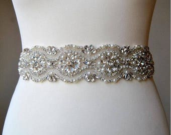 20% OFF! Pearl and Rhinestone Bridal Belt