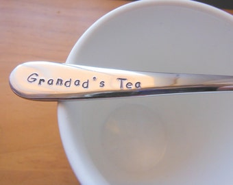 Grandpas Tea,Grandad Gift,Pa,Grandparent gift, grandparent,Hand Stamped Teaspoon