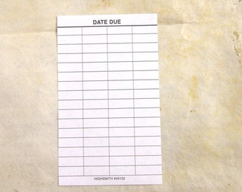 20 Library Date Due Slips - Perfect for Baby Date Pools