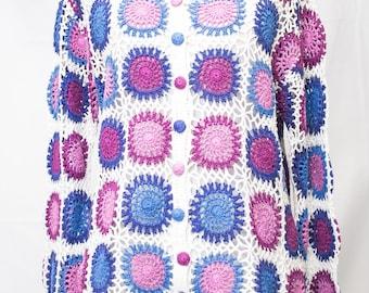 Adorable Cotton Granny Square Cardigan