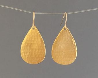 Gold Hammered Teardrop Earrings