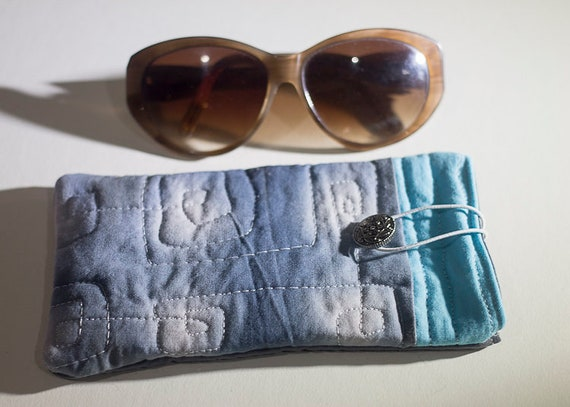 Quilted Sunglasses Case, Shibori Quilted Case, Handmade, Hand Dyed Quilted Case