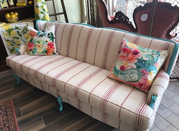 Vintage French Provincial Sofa Couch Country Shabby Chic