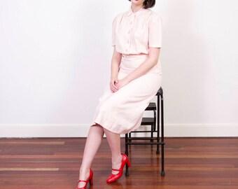 RESERVED | Vintage 1930s Blush Pink Linen Dress / 1930s Dress / Mother of Pearl Buttons / 1930s Linen Dress / M