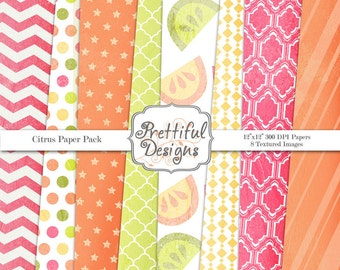 Citrus Textured Digital Paper Pack for Commercial Use